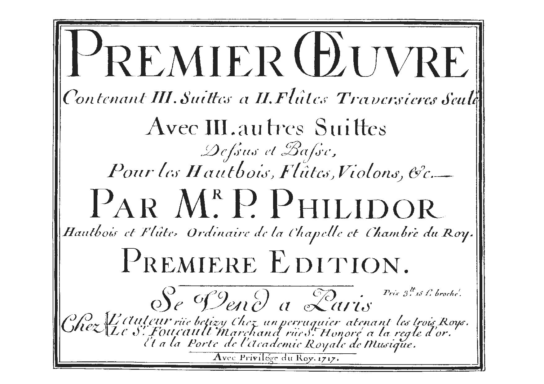Pierre Danican Philidor - 6 Suites for Two Flutes, and 6 Suites for Treble and Bass