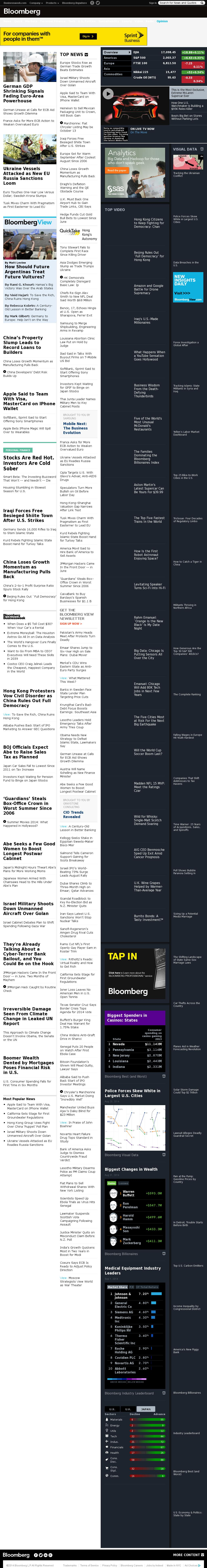 Bloomberg at Monday Sept. 1, 2014, 8:01 a.m. UTC