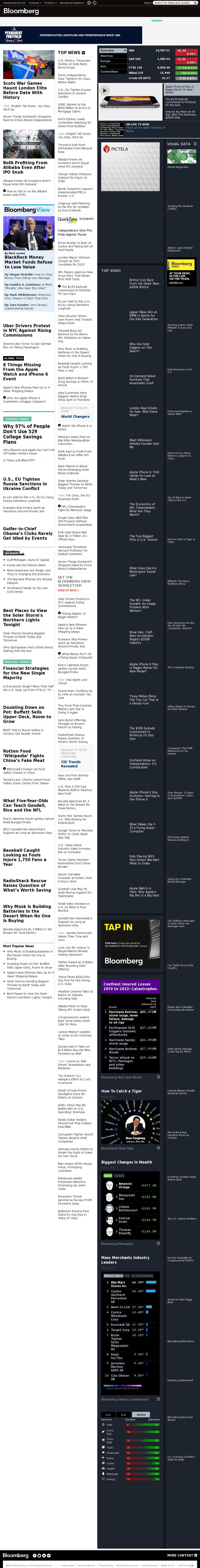 Bloomberg at Saturday Sept. 13, 2014, 5 a.m. UTC