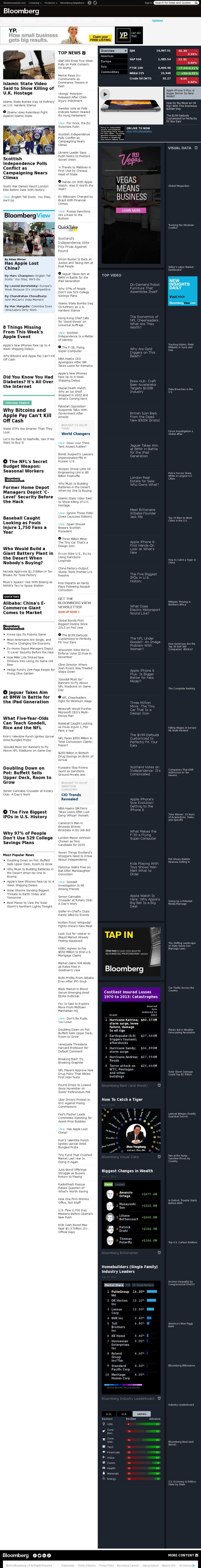 Bloomberg at Sunday Sept. 14, 2014, 5 a.m. UTC