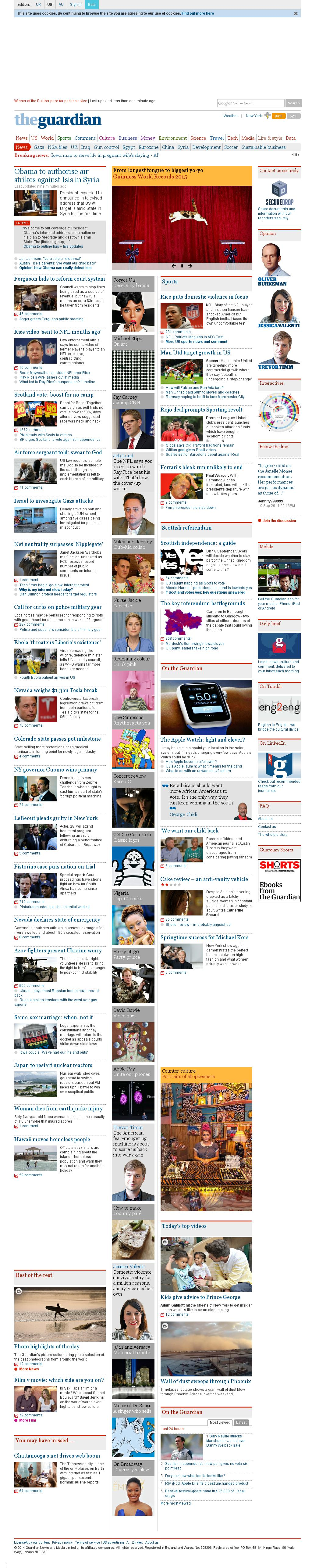 The Guardian at Wednesday Sept. 10, 2014, 11:13 p.m. UTC