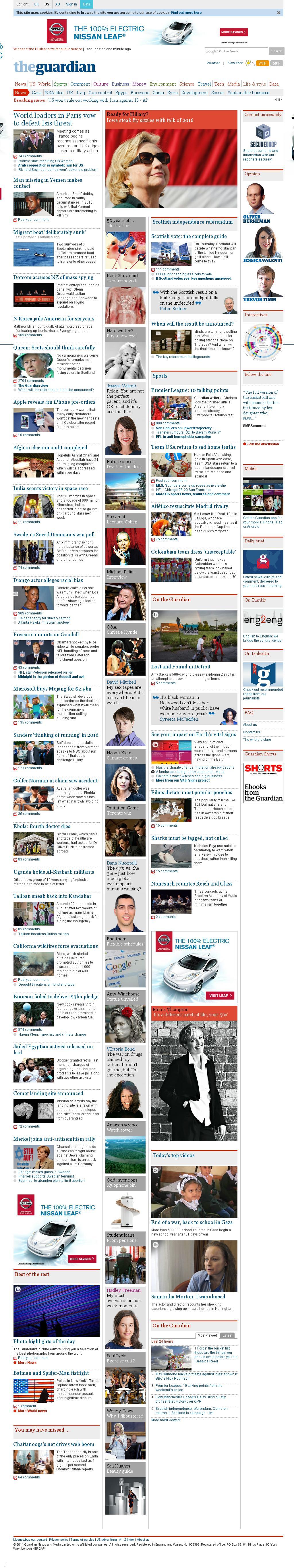 The Guardian at Monday Sept. 15, 2014, 4:07 p.m. UTC